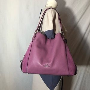 Auth Coach Edie 31 lilac leather shoulder bag